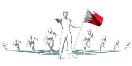 Bahrain Racing to the Future with Man Holding Flag
