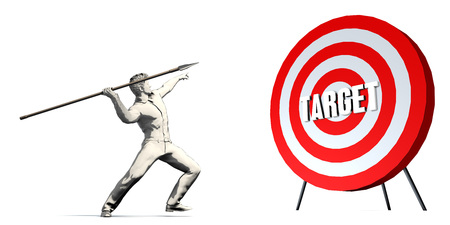 Aiming For Target with Bullseye Target on White Stock Photo