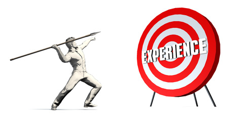 Aiming For Experience with Bullseye Target on White Stock Photo