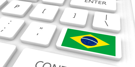 Brazil Racing to the Future with Man Holding Flag Standard-Bild