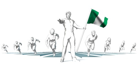 Nigeria Racing to the Future with Man Holding Flag