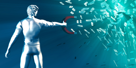 Wealth Concept with Man Holding Magnet to Pull Money In