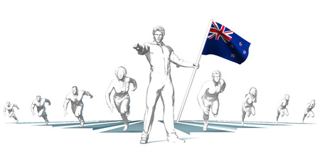 New zealand Racing to the Future with Man Holding Flag