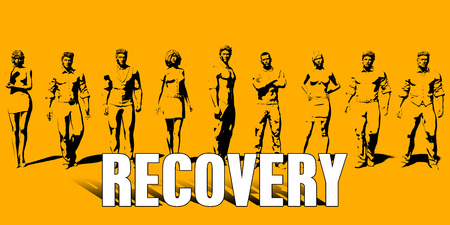 Recovery Concept With Business Professionals Standing in a Row