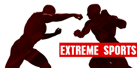 Extreme sports Class with Silhouette of Two Men Fighting