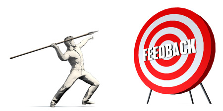 Aiming For Feedback with Bullseye Target on White Stock Photo