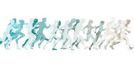 경쟁에서 뛰는 남자와 여자