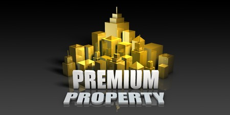 Premium Property Industry Business Concept with Buildings Background