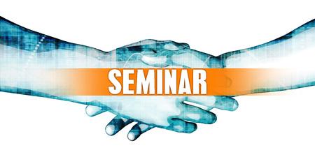 Seminar Concept with Businessmen Handshake on White Background