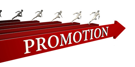 Promotion Solutions with Business People Running To Success Standard-Bild