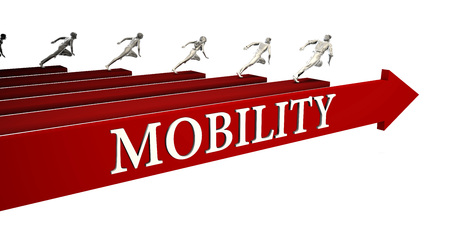 Mobility Solutions with Business People Running To Success