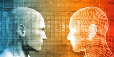 Digital Handshake Between Man and Machine Technology 写真素材