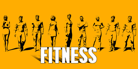 Fitness Concept With Business Professionals Standing in a Row Stock Photo