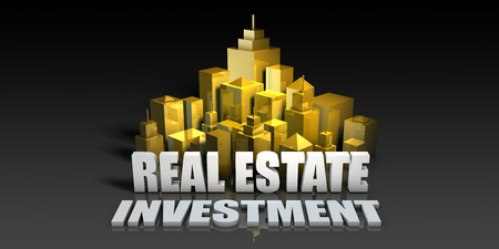 Real Estate Investment Industry Business Concept with Buildings Background