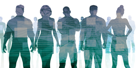 Business People Standing as a Corporate Silhouette Concept