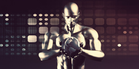 Technology Solutions with Man Holding Globe in Hands