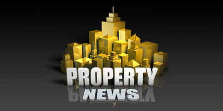 Property News Industry Business Concept with Buildings Background