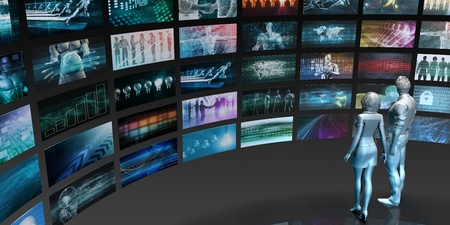 Media Technologies Concept as a Video Wall Background Standard-Bild