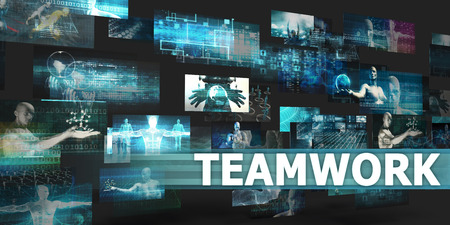 Teamwork Presentation Background with Technology Abstract Art