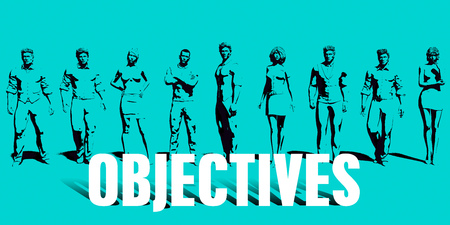 Objectives Focus with Business People United Art Standard-Bild