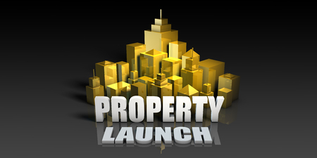 Property Launch Industry Business Concept with Buildings Background