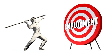 Aiming For Employment with Bullseye Target on White Stock Photo