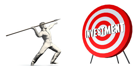 Aiming For Investment with Bullseye Target on White Stock Photo