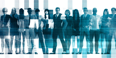 Business People Abstract with Diverse Group Standing Together Stock Photo
