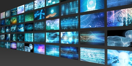 Content Marketing on a Video Wall as Digital Concept Stock Photo