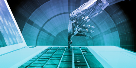 Automated Technologies with Robotic Hand Pressing Key Banco de Imagens