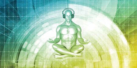 Zen Music Man Listening With Headphone in 3d