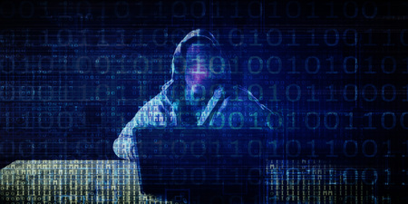 Digital Crime with Hacker Syndicate Illegal Access to Data Stock Photo