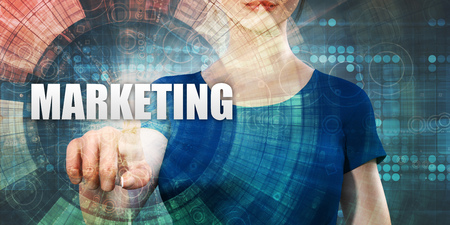 Marketing Technology With Woman Pressing on Screen