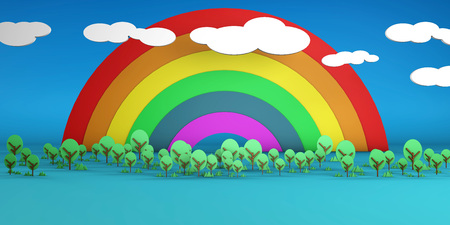 Rainbow Sky and Trees 3D Illustration Render