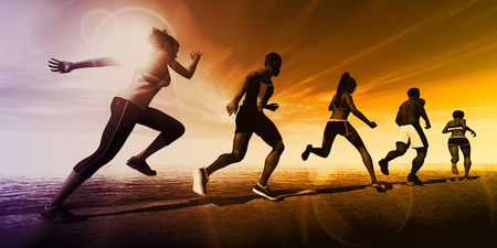 Fitness Training Together in a Group of Athletes 写真素材