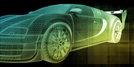 Car Wireframe Background with Futuristic Abstract Art