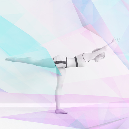 Yoga Brochure Template with Woman Performing Pose Stockfoto