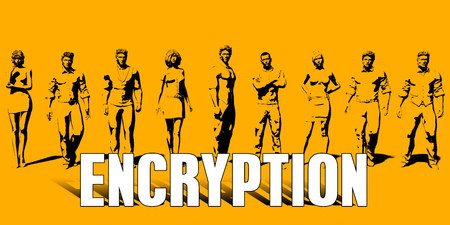 Encryption Concept With Business Professionals Standing in a Row