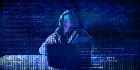 Hacker in Front of Computer Laptop Security Technology