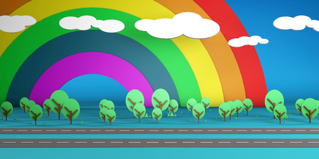Rainbow Forest Cartoon Scenery Abstract Background