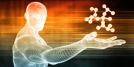 Abstract Science Background with Molecule Held By Scientist Archivio Fotografico - 117647139