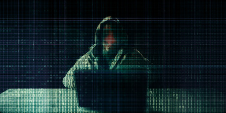 Hacker Hacking on Binary Digital Background Concept