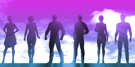 Empowered Business People Silhouette as a Success Concept Stock Photo