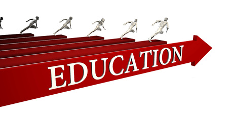 Education Solutions with Business People Running To Success Фото со стока