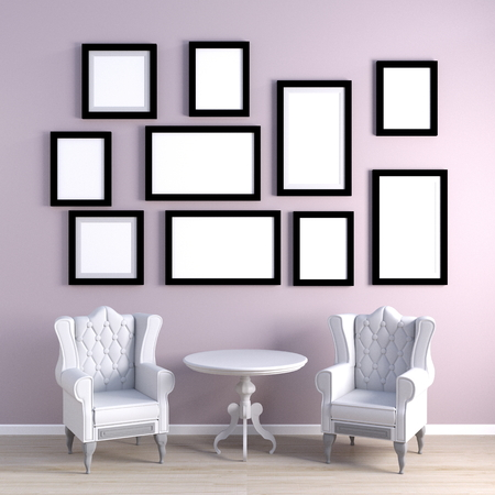 Blank Photo Frames for Template on a Wall Banco de Imagens