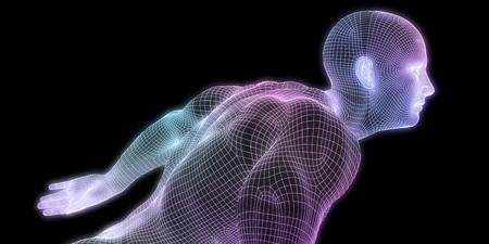 Human Body Digital Visualization Running Forward Art
