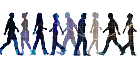 Business People Walking Silhouette Abstract Background Concept