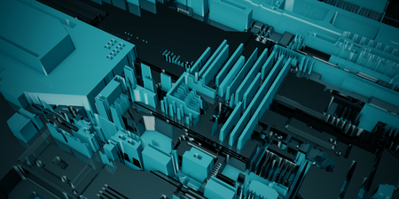 Close Up on Circuit Board Manufacturing Industry Abstract