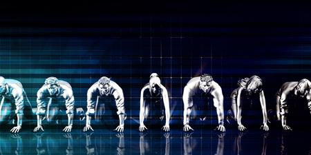 Businessmen Teamwork Running Together as a Concept