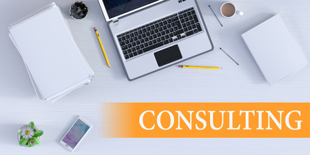Consulting Solution Online as a Business Concept Stock Photo